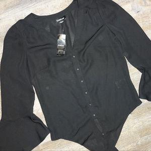 NWT - bebe Black Button Down Flare Shirt Sz. XS